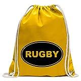Kiwistar Le Rugby Fun Sac à Dos Sport Sac de Remise en Forme Gymbag Shopping Coton avec Cordon