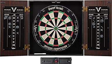 Viper Stadium Cabinet & Shot King Sisal/Bristle Dartboard Ready-to-Play Bundle: Deluxe Set (Shot King Dartboard, Darts and Laser Throw Line)