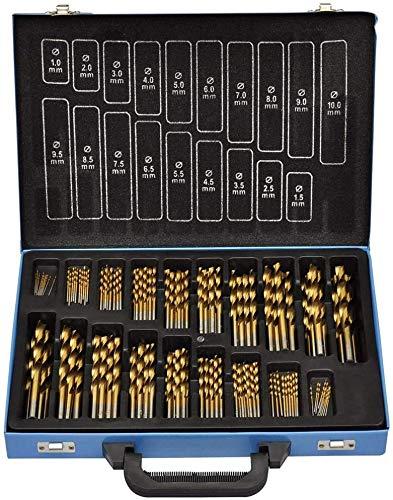 NAIZY Metallbohrer Set 170-teilig Stahlbohrer Holzbohrer Bohrerkassette für alle handelsüblichen Bohrmaschinen mit 1-10 mm DIN 338 Spitzenwinkel 135° HSS-G Cobalt