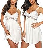 RSLOVE White Slip Dress Women Lace Lingerie Sleepwear Chemises V-Neck Full Slip Babydoll Nightgown Dress White S