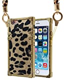 Leopard iPhone 8 case, Detachable Phone Scarf Lanyard Cell Phone Holder Necklace Girls Women Leopard Pattern Case for iPhone 7 (Gold)