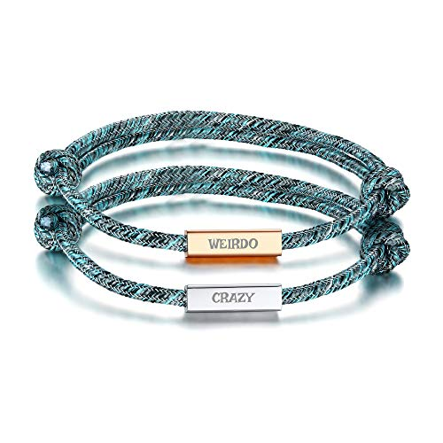 VNOX Valentine's Day Present 2PCS His Crazy&Her Weirdo Bracelets Couple Distance Knot Rope Bracelets Vows of Eternal Love Valentine's Day Present Jewelry Set for Women Men/BFF Friendship Bracelet