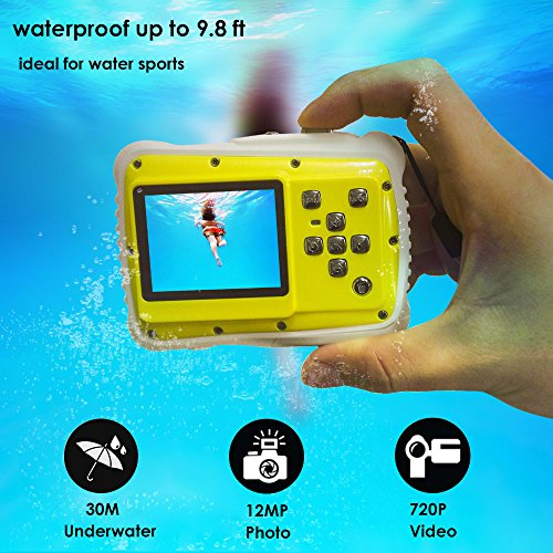 Waterproof Camera for Kids,Lelekey 12MP HD Digital Camera,2 inch LCD 9.9 FT Underwater Camera,Mini Kids Camera Including Float Strap and 16Gb Memory Card Yellow
