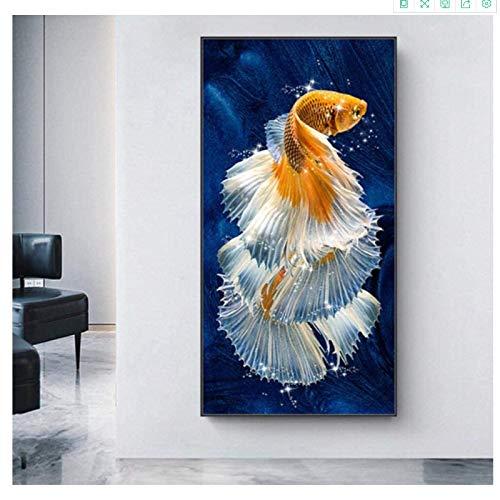 Impresión sobre lienzo de 30 x 60 cm, sin marco, Koi Fish Feng Shui, carpa loto estanque, arte de pared para sala de estar moderna decoración del hogar