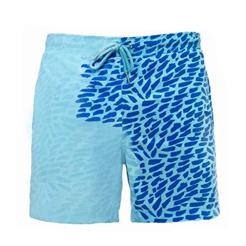 JiaMeng-ZI Bañadores Que cambian de Color, Playa Sensible al Cambio de Color Sensible a la Temperatura para Hombres Pantalones de baño Traje de baño de Verano Bañadores de Surf