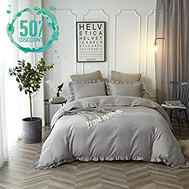 Hyprest King Duvet Cover Set Lightweight Soft Solid Color 3PC Bedding Exquisite Flouncing, Light Grey