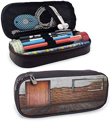 Estuche para lápices de cuero suave antiguo, estuche para bolígrafos, bolsa, bolsa, marco de fotos en una pared de ladrillo dañada, habitación vieja envejecida, piso de madera rústica para la oficin