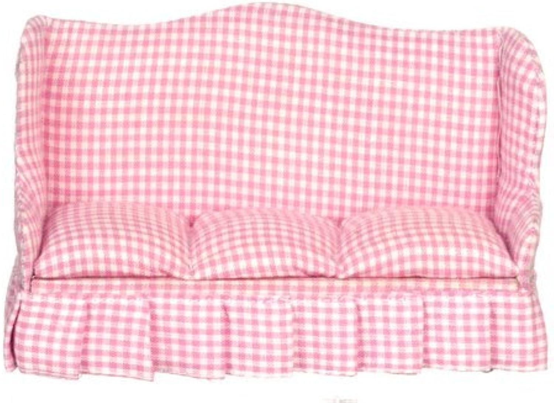 Dollhouse Living Room Sofa Pink Fabric