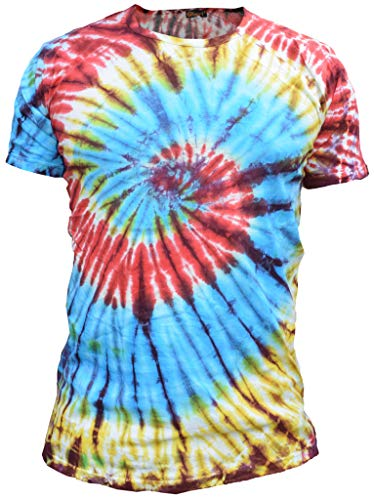 Gheri De los Hombres Algodón Tie Dye Festival Hippie Camiseta Espiral del Arco Iris Large