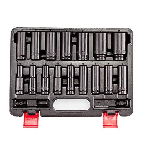 16 Pieces 1/2 Inch Drive Impact Socket Set - 10-32mm Metric Deep Socket Sets, Cr-V, 6 Point