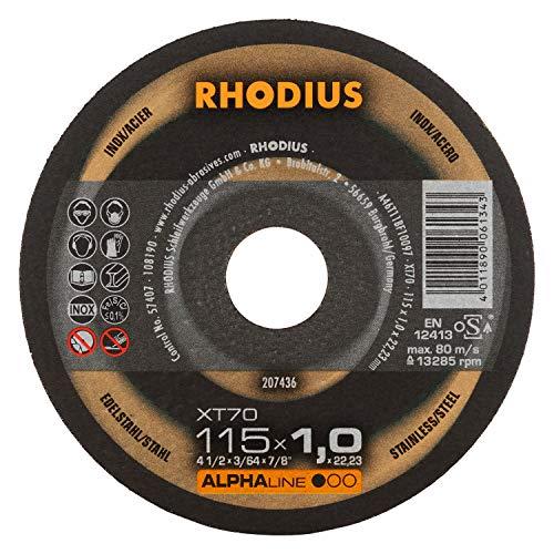 RHODIUS extra dünne INOX Trennscheiben Metall XT70 BOX Ø 115 mm für Winkelschleifer Metalltrennscheibe 10 Stück