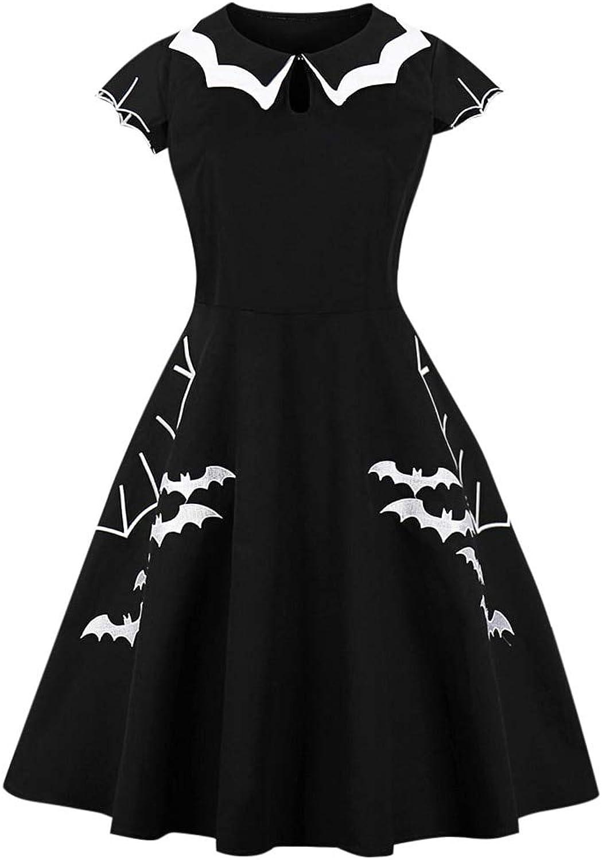 FUZHUANGHM Women Vintage Dress Plus Size Black Print Retro Dress Rockabilly Dresses