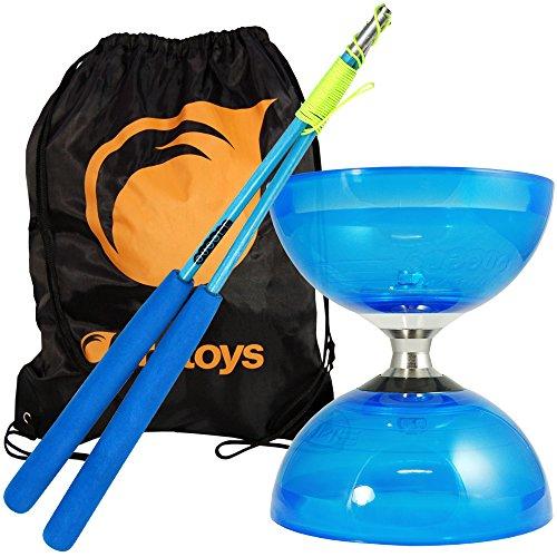 Juggle Dream Cyclone Quartz 2 Diabolo, Fiberglas Diablo Stäbe & Firetoys® Tasche (Blau Diabolo/Blau Stäbe)