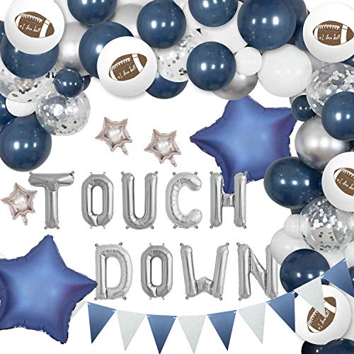 Cowboy Party Decorations for Men Football Balloon Garland Kit Touch Down Themed Football Party Supplies Navy Blue and Silver