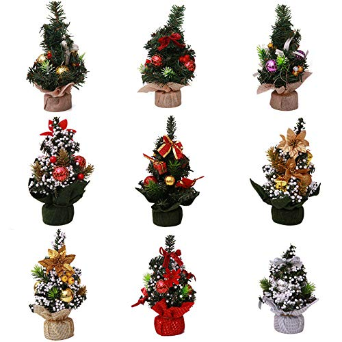 Xiongmao Mini Christmas Tree Artificial Tabletop Xmas Tree with Hanging Ornament Decorations DIY Creat Gift