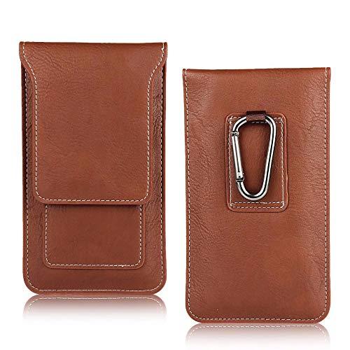 AXELENS Custodia Cover Universale Verticale a Sacchetto Porta Cellulare per Cintura iPhone Samsung Huawei Xiaomi Nokia in Simil Pelle per Smartphone Fino a 6.1 Pollici - Marrone XL