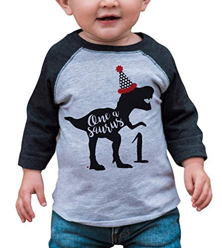 7 ate 9 Apparel Babys Dinosaur Dino One 1st 1 First Birthday Grey 18 Months