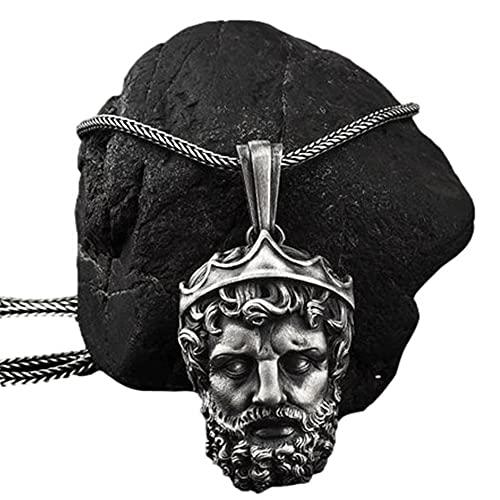 Retro Griekse Mythologie Mannen Gezicht Puur Tin Zeus Hanger Ketting, Handgemaakte Viking Middeleeuwse Heidense Amulet Sieraden, Met Titanium Stalen Ketting Valknut Rune Gift Bag
