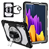 Galaxy Tab S7 Plus/ S7+ Case, [ Clear Transparent Back ] Protective Hard Tablet Cover with S Pen Holder+ Kickstand+ Hand& Shoulder Strap [ Military Grade 8ft. ] for Samsung S7+ 12.4 inch