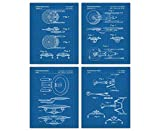 Star Trek Blueprint Patent Wall Art Prints: Unique Room Decor - Set of Four (8x10) Unframed Pictures - Great Gift Idea Under $20