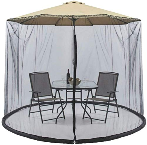 TRYSHA パティオ表のためのジッパーメッシュのスクリーンをパティオの傘のための蚊帳が収まる9-10FTパティオの傘屋外ガーデンコートヤード(ホワイト) 自転車収納 (Color : Black)