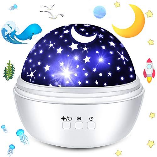 ProjectorLamp,EMIUP NightLightProjector Star Projector 360 Degree Rotation Sky Projector Ocean Projector Use for Kids Night Light,Decorative Light,Mood Light,Christmas Gifts,Birthday Present(White)