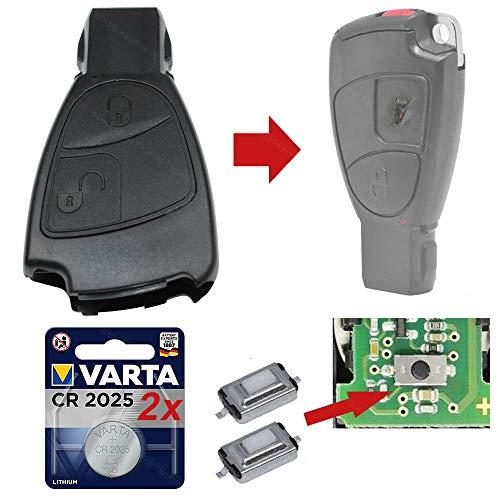 Repair Reparatur Satz Auto Schlüssel Set Austausch Gehäuse mit 2 Tasten + Drucktasten + Batterien kompatibel für Mercedes W209 W169 W245 W203 R171
