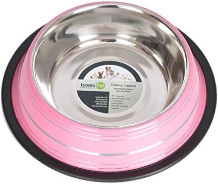 Iconic Pet Color Splash Stripe Non Skid Pet Bowl 96 Ounce Pink product image