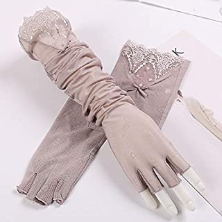 SHENTIANWEI Women's UPF50+ Long Lace Sleeve Ice Wire Arm Set Half Finger Driving Anti-skid Sun Visor (Color : Pink-B, Size : One size-One pair)