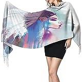 Schal für Frauen In-dian American Women Smoke Art Großer Schal Wickelschal mit Quaste Weicher warmer Schal Gemütlicher Schal Wickel