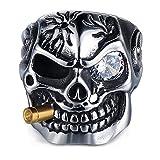 Adisaer Bague Rock N Roll,Bague Homme Acier Inoxydable Hommes de Crâne avec Cigarettes Acier Inoxydable Bague Homme Noir Argent Taille 74