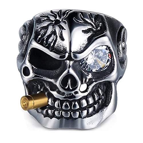 Adisaer Edelstahl Ring Männer, Titan Ring Herren Mit Zigaretten Weiß Zirkonia Totenkopf Partnerring Silber Ring Größe 65 (20.7)