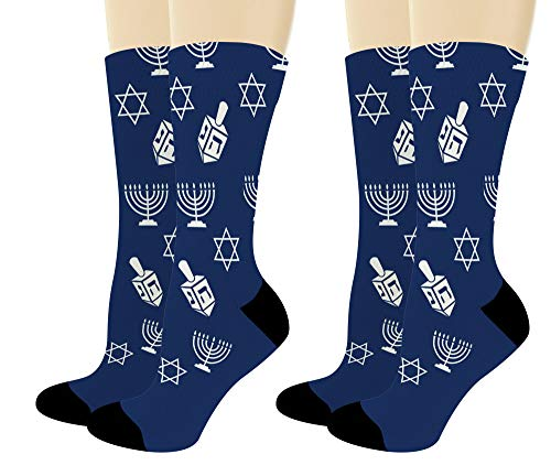 Hanukkah Gifts for Hanukkah Icons Menorah Star of David Dreidel Toy 2-Pairs Novelty Crew Socks