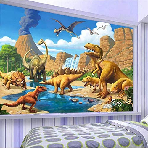 CQDSQN Tapete Wandgemälde Fantasy Lake Dinosaur Tyrannosaurus 3D PVC Selbstklebend Wandaufkleber Kinderzimmer Modern Kunst Poster Fotos Junge Mädchen Thema Szene Wandgemälde Zuhause Sch(B)250x(H)175cm