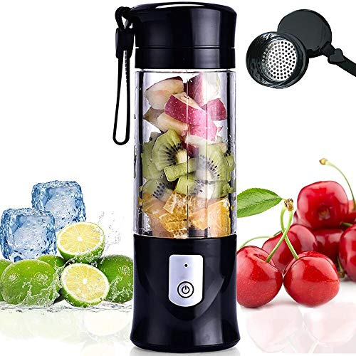 Portable Blender, USB Travel Juice Cup Baby Food Mixing Juicer Machince with Updated 6 Blades with Powerful Motor 4000mAh Rechargeable Battery,13Oz Bottle(black)