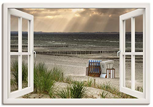 Artland Leinwandbild Wandbild Bild auf Leinwand 100x70 cm Wanddeko Fensterblick Fenster Strand Düne Meer Maritim Strandkorb Küste Insel T6AM