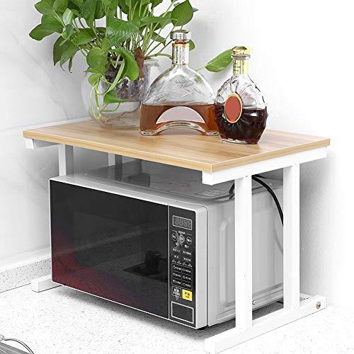 Soporte de horno para microondas y suministros de cocina, estantería para microondas, estante de almacenamiento de 2 capas (blanco)