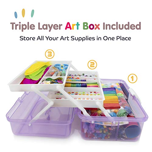 Crafts /& Sewing Supplies,Perfect for Home Office WEWLINE Art Supply Box 3-Layers Plastic Craft Box with Handle for Children Student Kids,Portable Lockable Storage Box for Arts