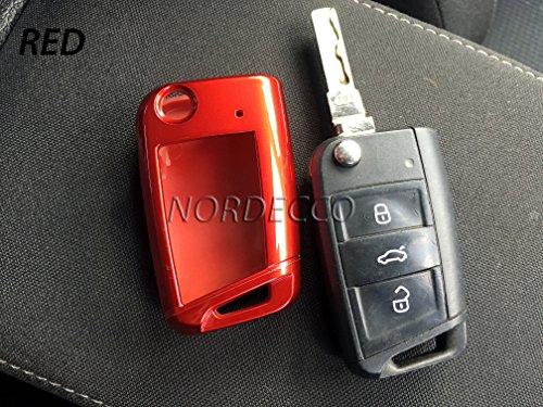 Coque de protection rigide en plastique ABS de haute qualité pour clé à 3 boutons pour Volkswagen VW Mark 7 Golf/Skoda/Seat FR (rouge)