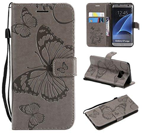 WindTeco Funda Samsung Galaxy S7 Edge, Mariposa Patrón Funda Piel Libro Shock-Absorción Carcasa Cartera Flip Billetera con Soporte y Ranuras de Tarjeta para Samsung Galaxy S7 Edge, Gris