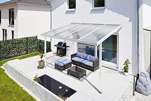 Gutta Terrassendach Premium | Tiefe 3060 mm | Weiß | Verschiedene Größen & Eindeckungen (Polycarbonat Stegplatten 16 mm klar, 10140 x 3060 mm)