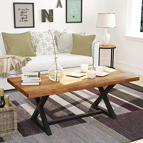 P PURLOVE Wood Coffee Table Easy Assembly Farmhouse Wood Table 47' Rustic Industrial Coffee Table Rectangle Coffee Table for Living Room with X-Shaped Metal Frame