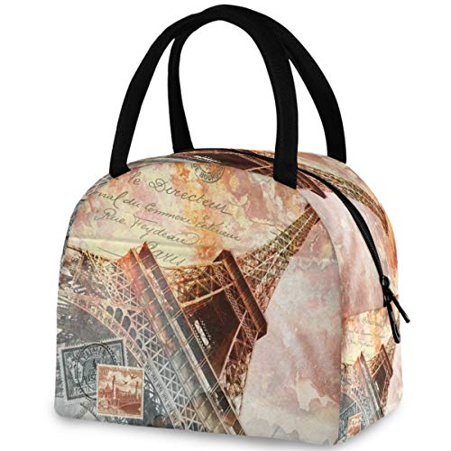 ZzWwR Stylish Eiffel Tower Paris Art Postcard Reusable Lunch Tote Bag with Front Pocket Zipper Closure Insulated Thermal Cooler Container Bag for Man Women Work Picnic Travel Beach Fishing