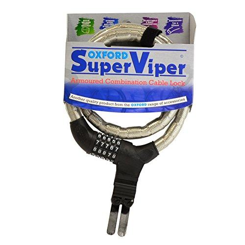 Oxford Super Viper Antivol blindé câble à Combinaison Argent/Noir 1 x 22 mm