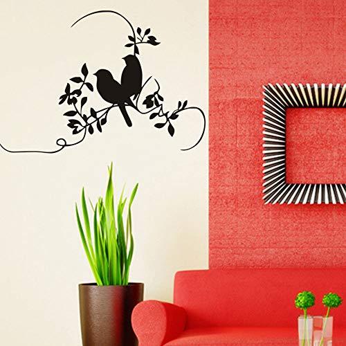 sanzangtang muurstickers, dubbele vogel op takken, decoratie voor huis, woonkamer, vinyl, zwart