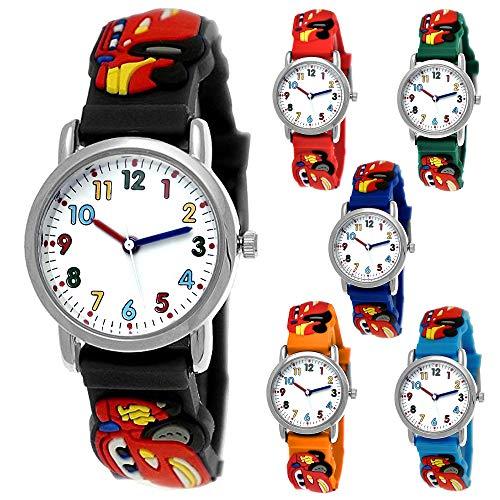 Montre de sport pour enfant avec motif voiture de course - Bracelet en silicone - Noir, bleu clair, rouge, orange, vert - Montre de sport pour enfant,