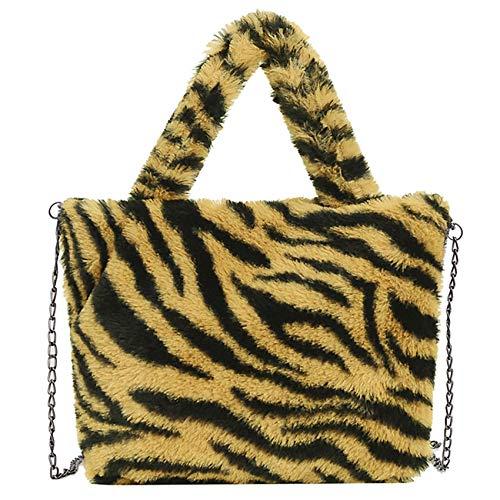 Damen-Handtasche mit Kuh-Druck, Kunstfell, Handtasche, Plüsch-Tragetasche, Metallkette, Schultertasche, Umhängetasche, Reißverschluss, Mehrfarbig - Zebramuster - Größe: Einheitsgröße