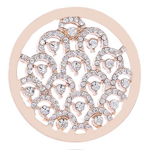Morella Damen Coin 33 mm Wellen Zirkoniasteine Rosegold