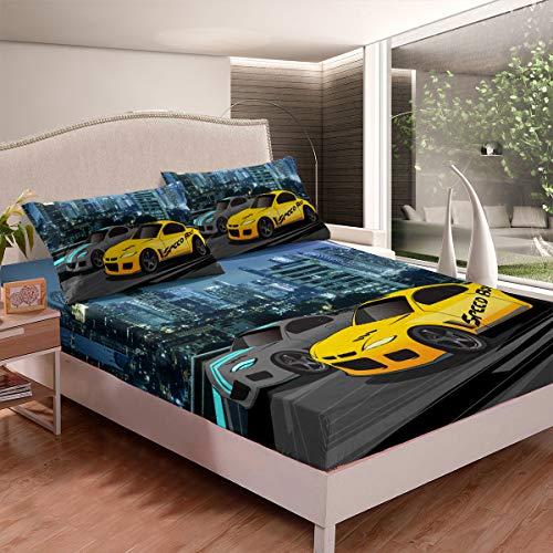 Juego de sábanas ajustables para coche, diseño deportivo extremo, para niños, con 2 fundas de almohada