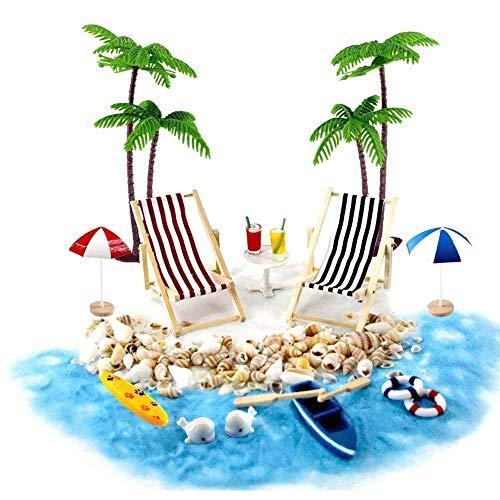 Moligin - Juego de accesorios para la casa de muñecas en miniatura para la playa, micropaisaje con tumbonas, sombrillas, palmera para el verano, 18 piezas